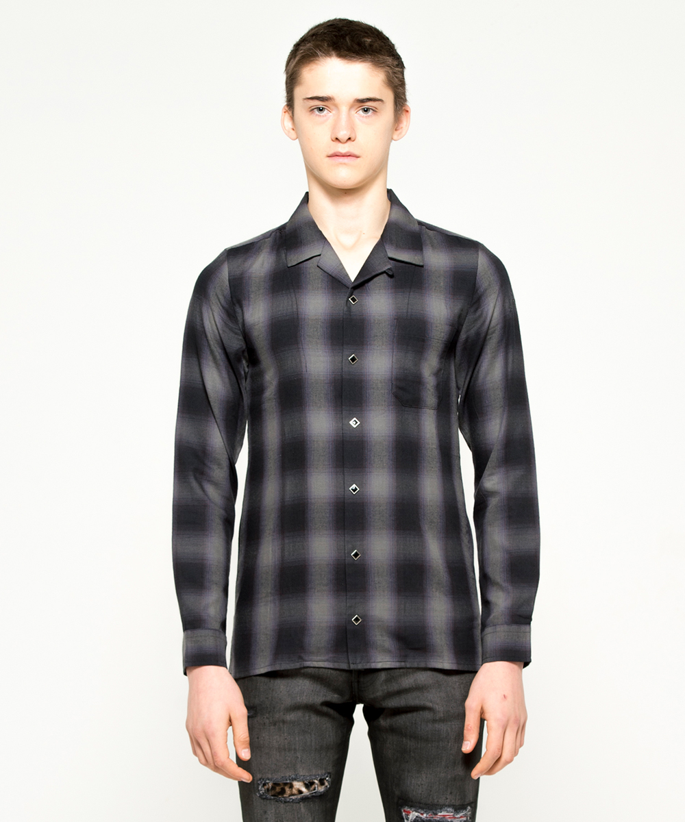 BACK METAL CHECK SHIRT [BLACK]