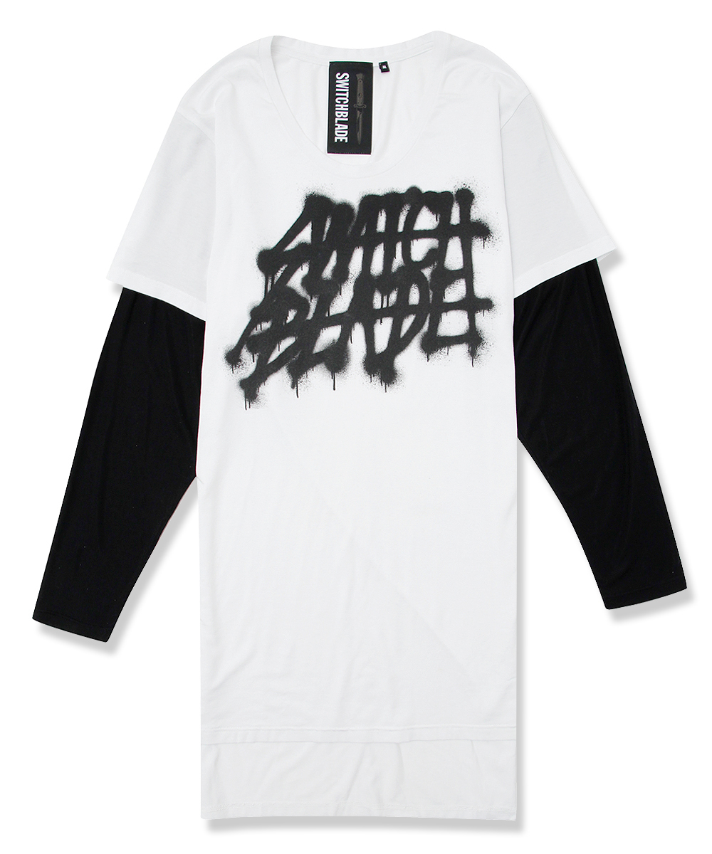 SPRAY LOGO LAYERED L/TEE [WHITE]