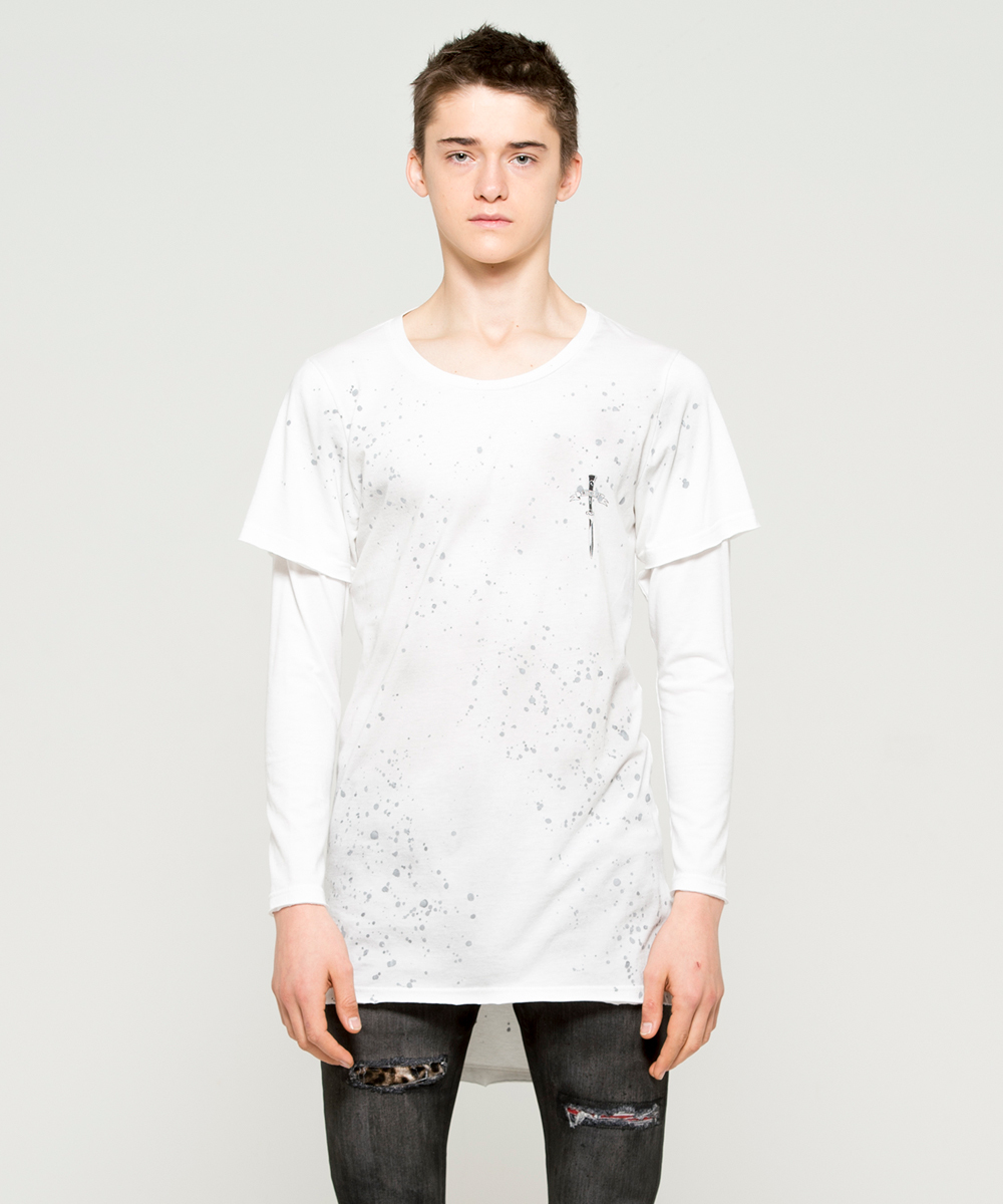 ARCH LOGO DYEING LAYERED L/TEE [WHITE]