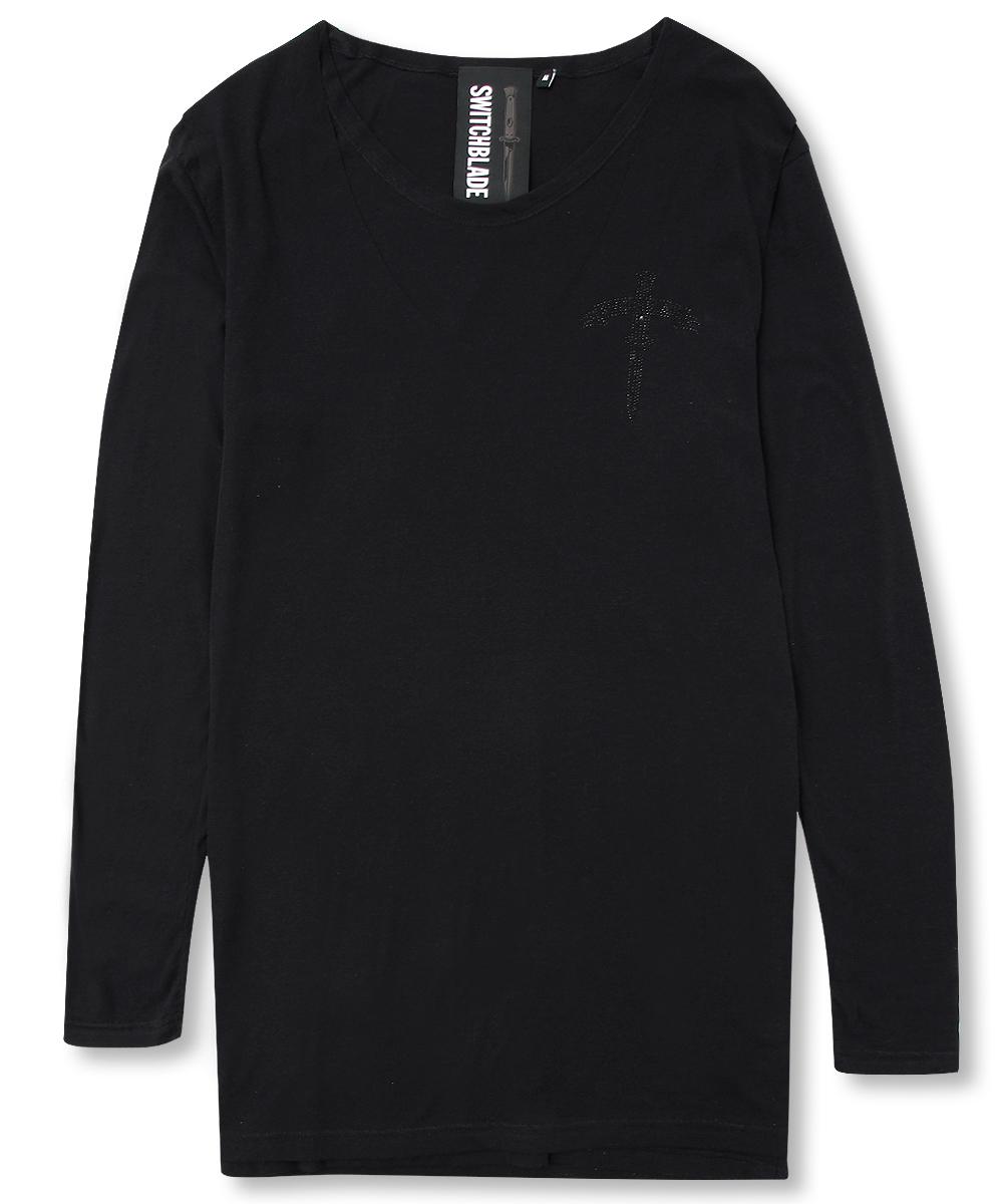 BLACK METAL LAYERED L/TEE[BLACK]