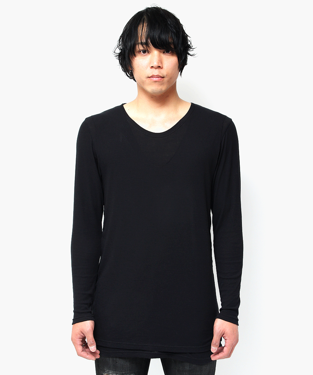 BACK NECK PRINT LAYERED L/TEE [BLACK]