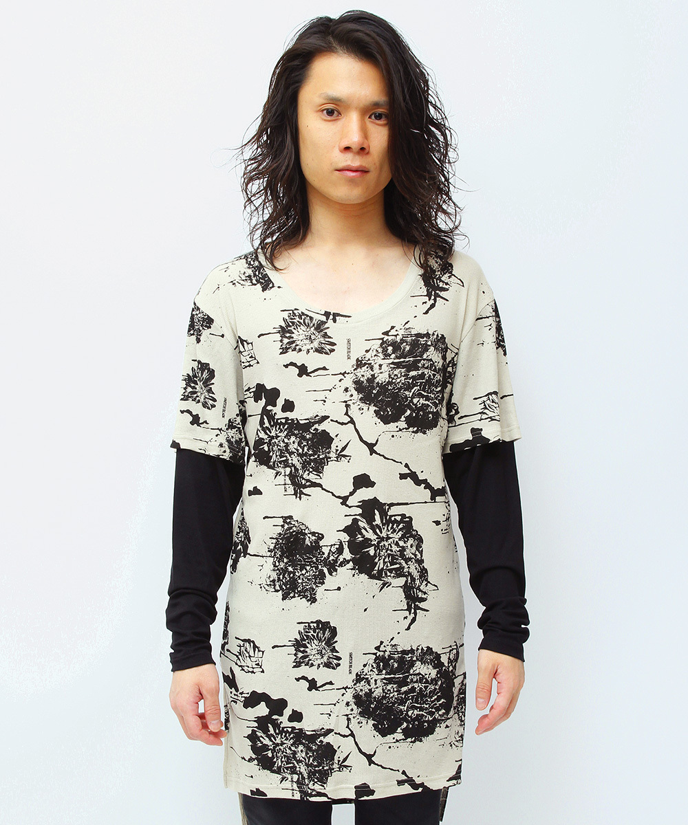 MELTED FLOWER LAYERED L/TEE [BEIGE]