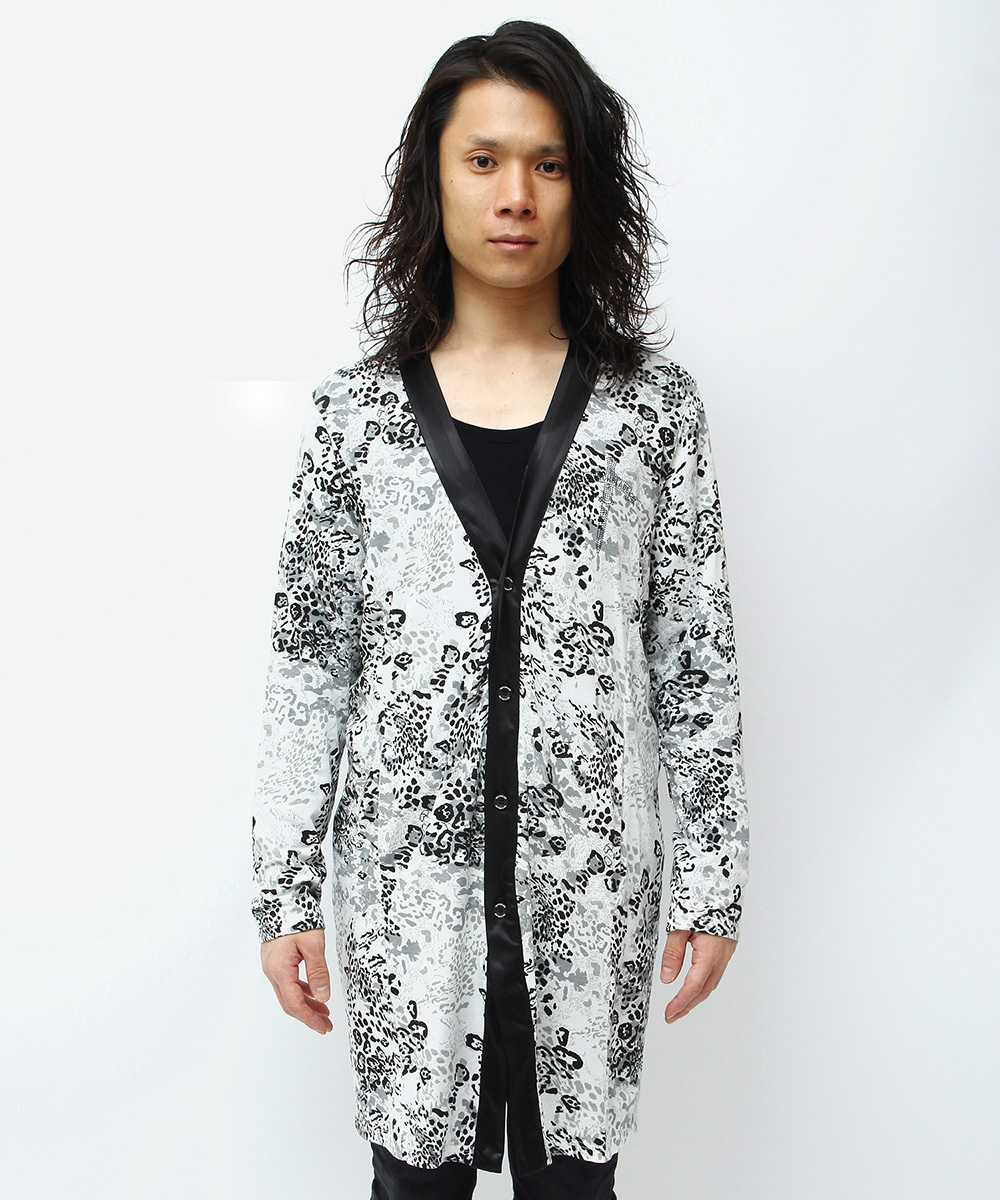ARCH LOGO BACK METAL LEOPARD CARDIGAN [WHITE]