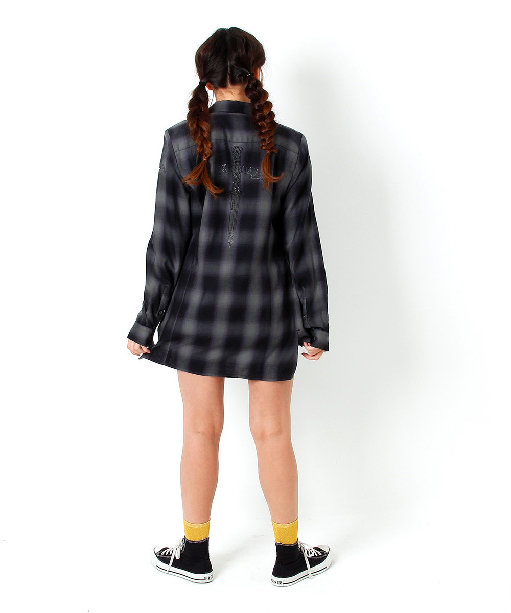 BACK METAL CHECK SHIRT [BLACK]