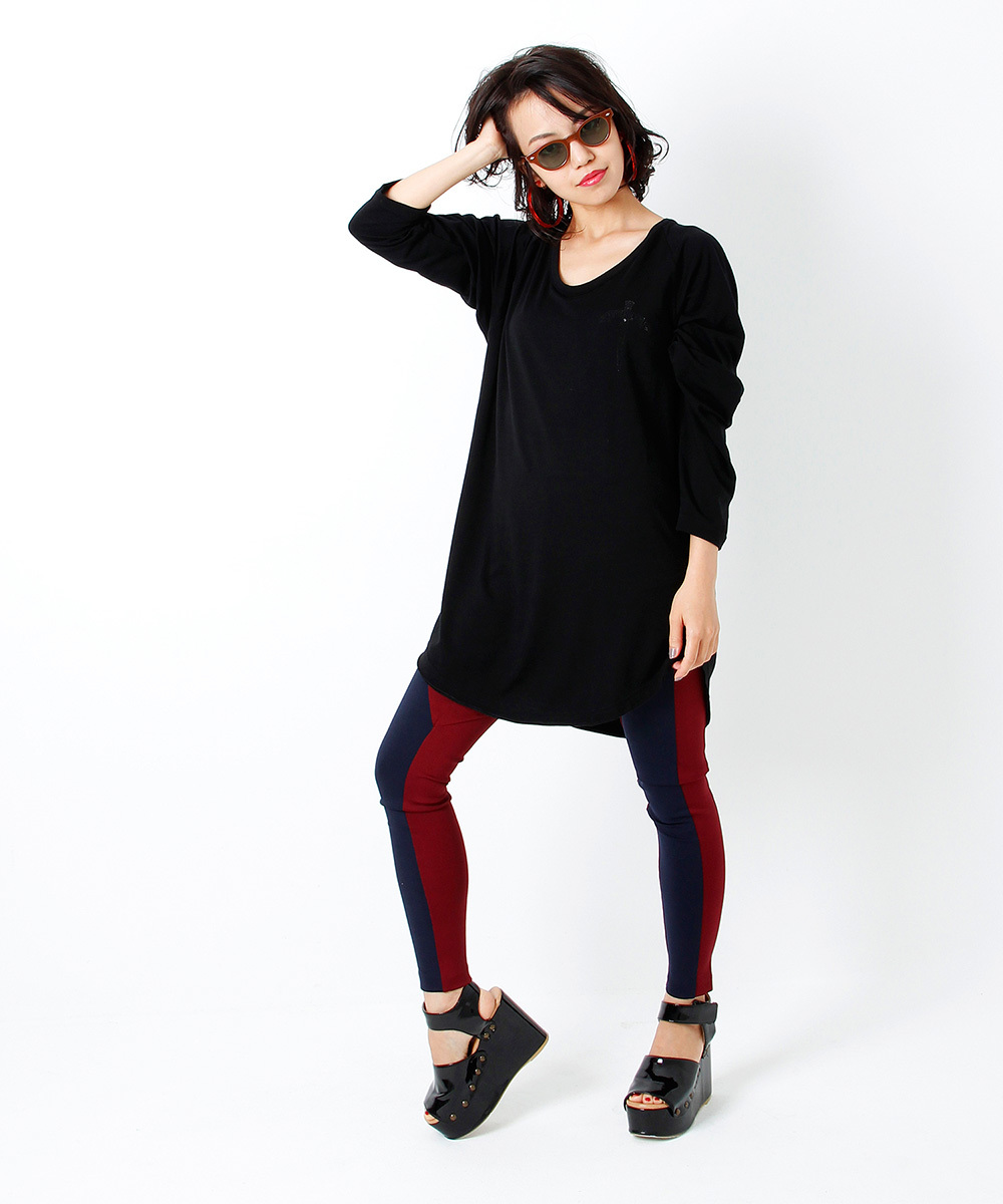 BACK METAL RAGLAN SLEEVE TEE [BLACK]