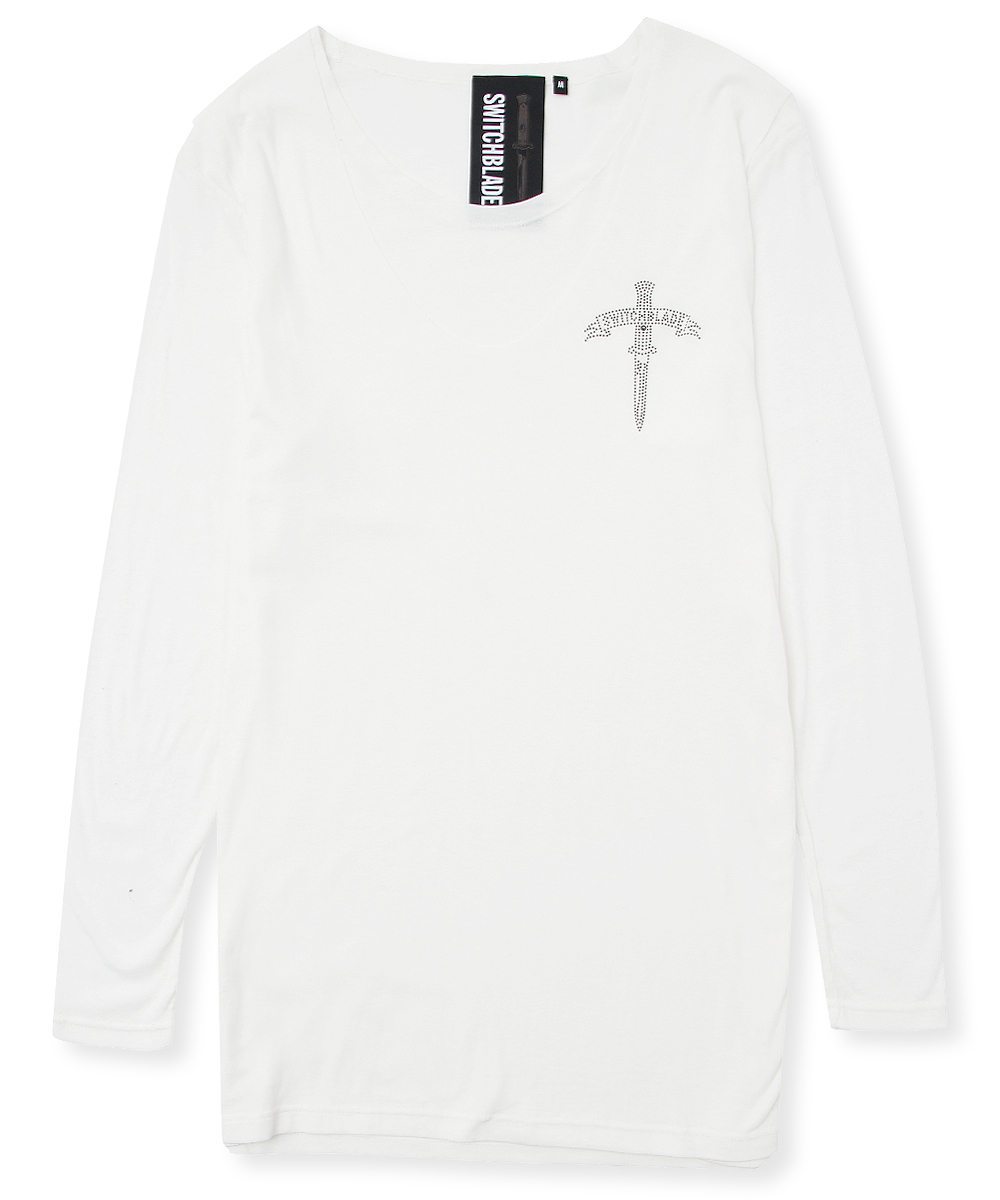 BLACK METAL LAYERED L/TEE[WHITE]