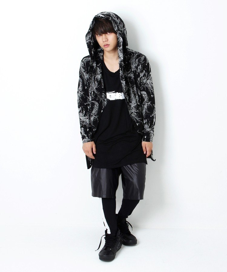 FEATHER BUTTON PARKA [BLACK]
