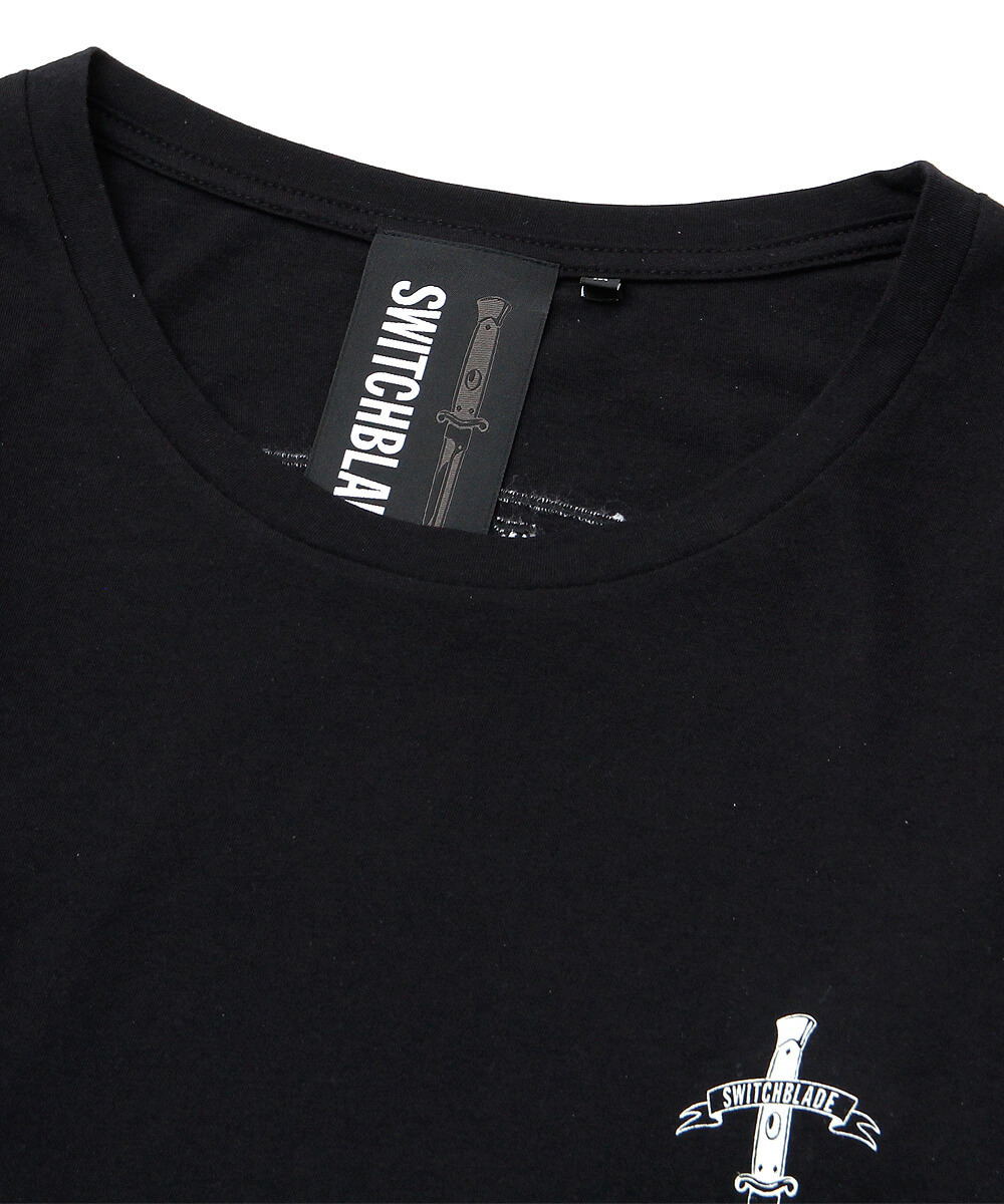 EMBROIDERY LAYERED L/TEE [BLACK]