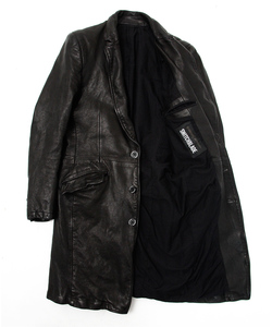 HAND PAINT MESSAGE LEATHER LONG JACKET