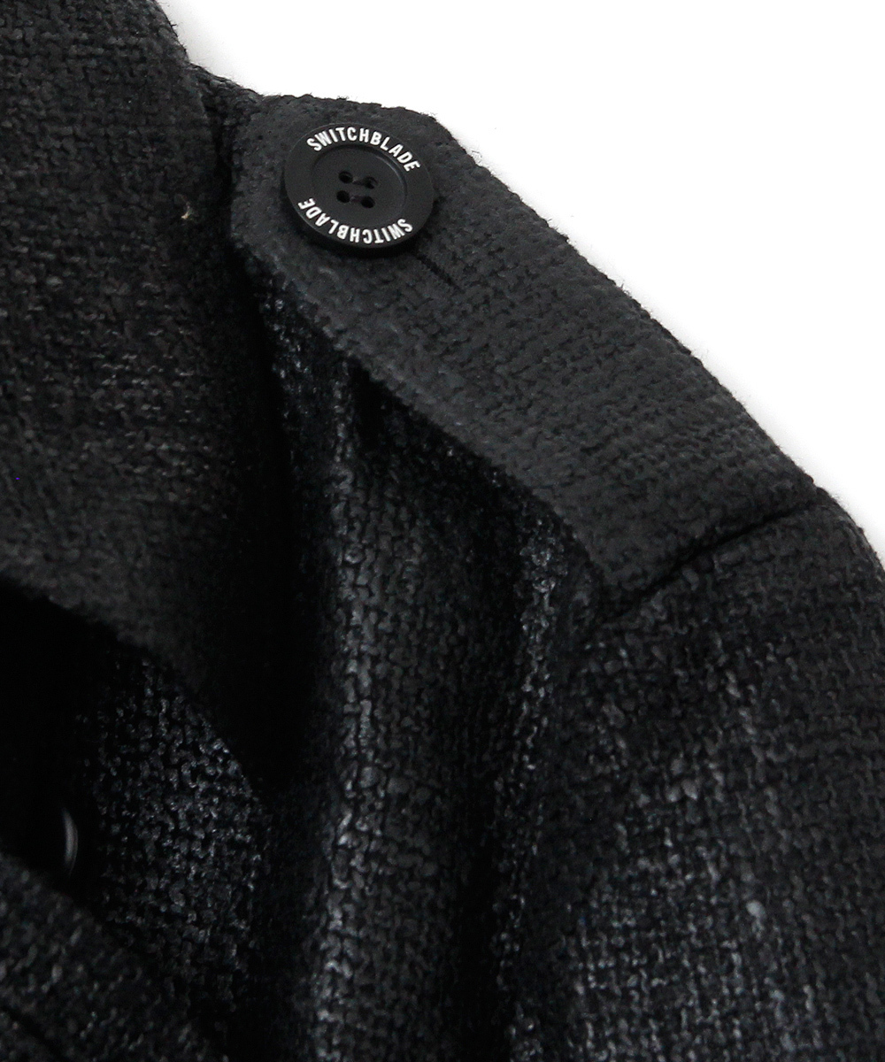 RUBBER PROCESSING TWEED TRENCH COAT