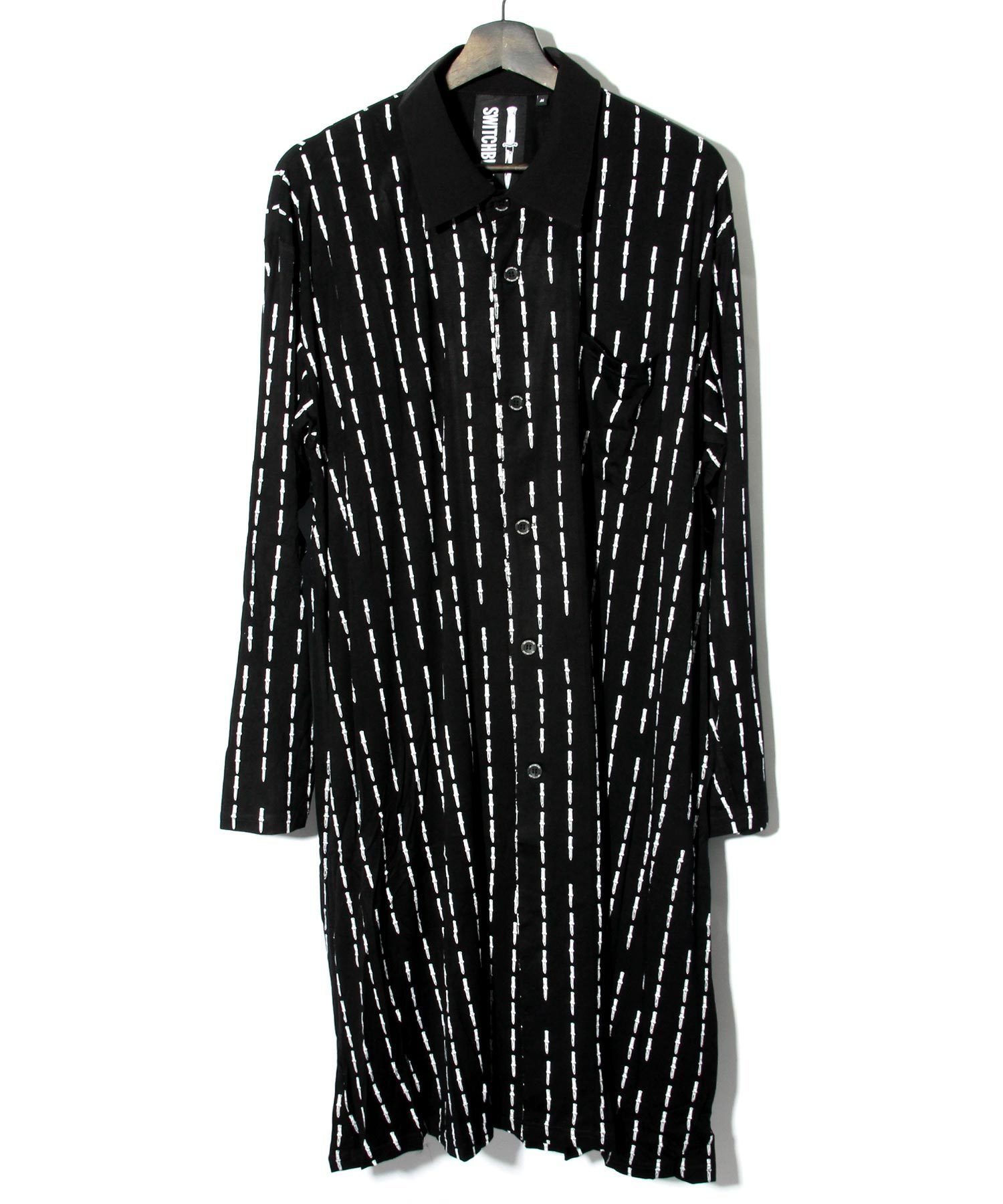 KNIFE PIN STRIPE LONG SHIRT [BLACK x WHITE]