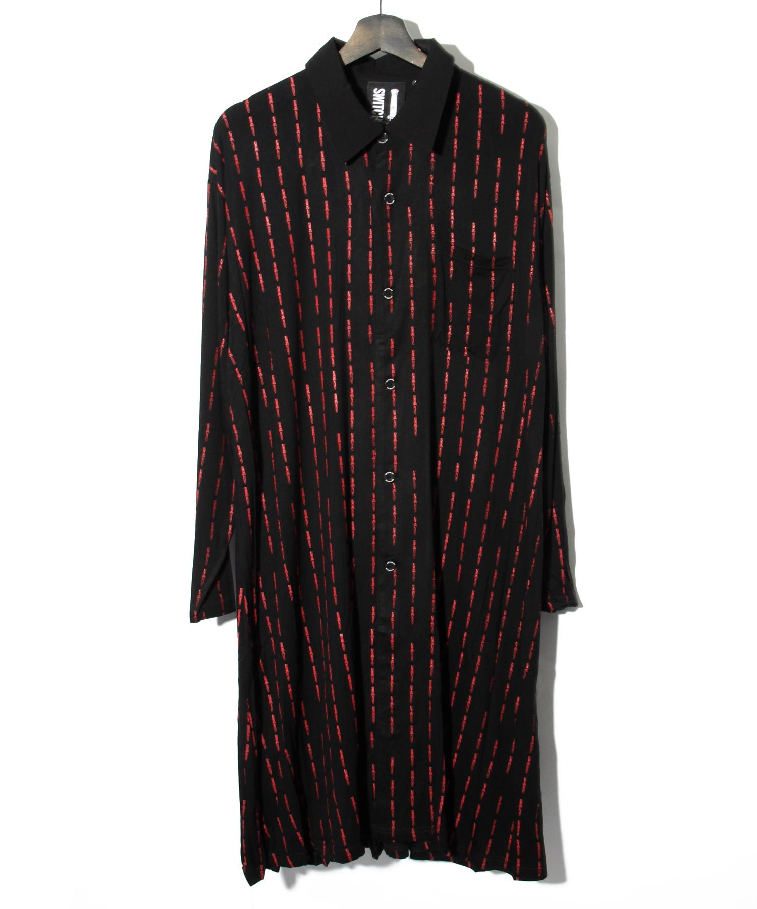 KNIFE PIN STRIPE LONG SHIRT [BLACK x RED]