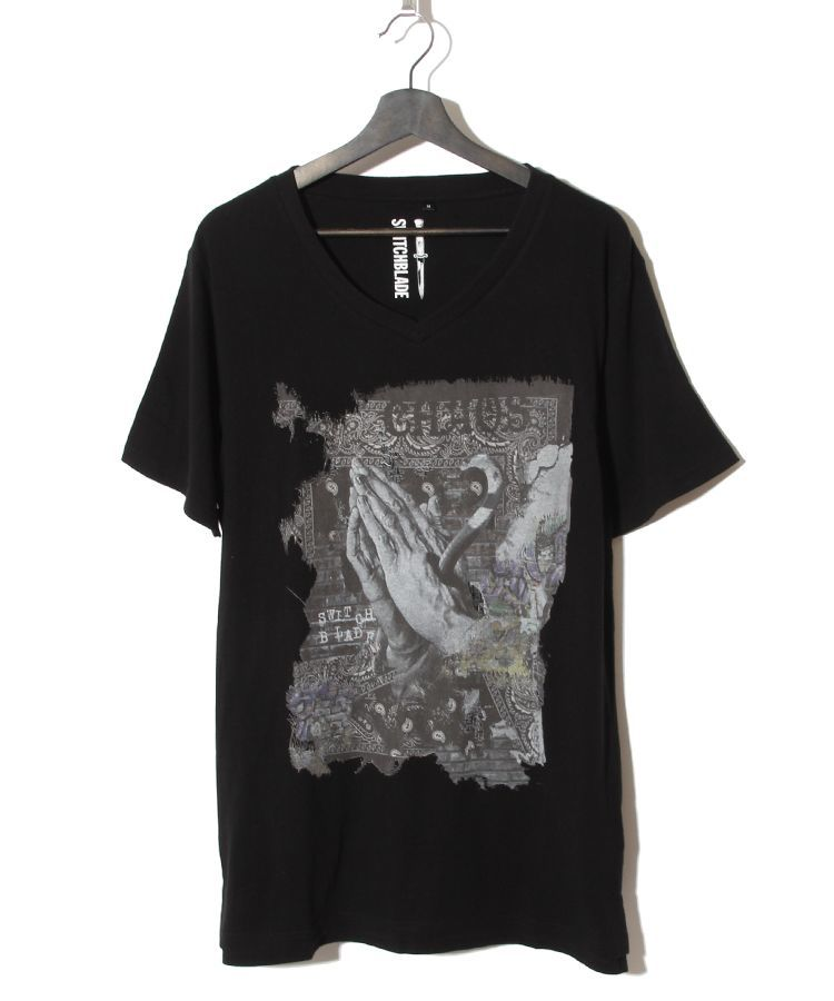 PRAYING HANDS V-TEE(BLACK)