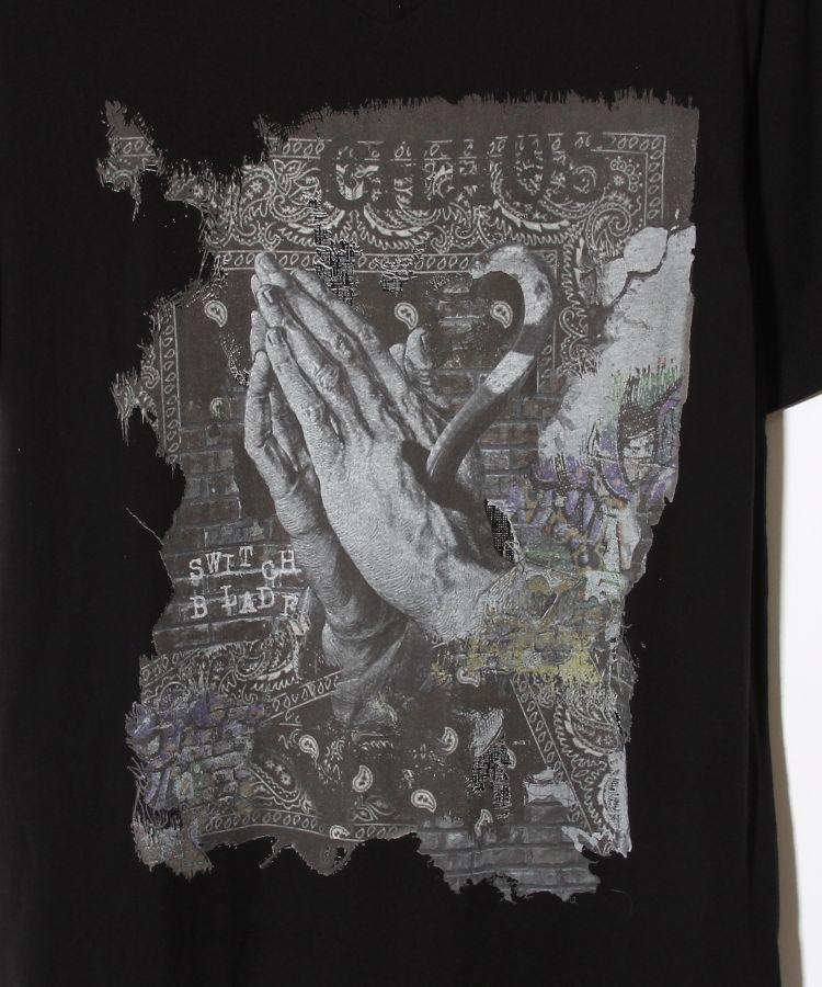 PRAYING HANDS V-TEE(BLACK)