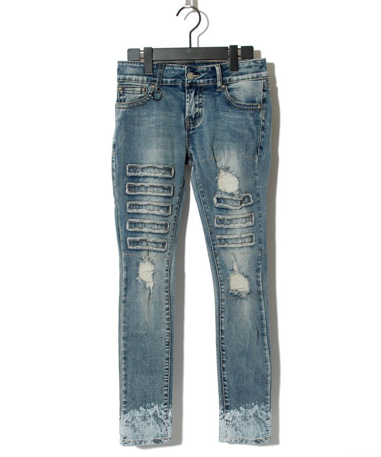 CRASH REMAKE SNAKE PRINT DENIM PT(LADY'S)